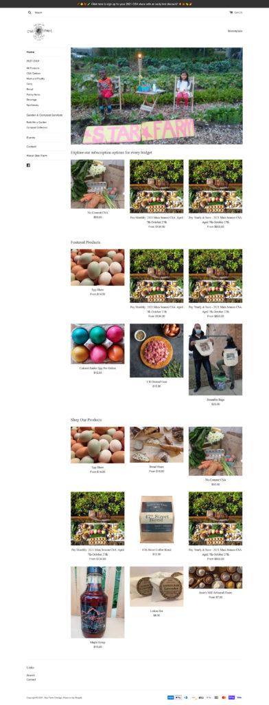 Star Farm Chicago Marketplace / Shopify E-Commerce - Frontpage Screenshot